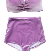 Lavender Velvet Bandeau & High Wasited Swimsuit