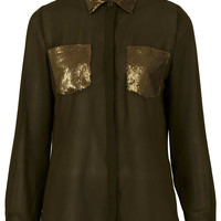 **Rita Sequins Pocket Chiffon Blouse by Goldie - New In This Week - New In - Topshop USA