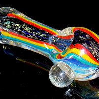 Fumed & Dichroic Glass Triple Color Spoon Pipe - Glitter Sparkle and Red Yellow Blue Stripes - Heavy Color Changing Smoking Bowl