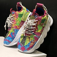 Versace new shoes fashion men's and women's trend platform low-top casual sneakers