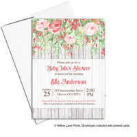 Girl baby shower invitations fall baby shower invites | printable or printed | country rustic baby shower wood flowers - WLP00770