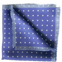 Guido-Silk Hand Fringed Pocket Square-Periwinkle