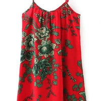 Red Tropical Printed Cami Dress