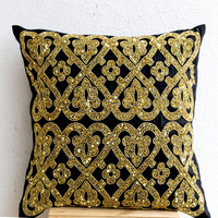 Decorative Throw Pillow -Black Silk Gold Sequin Throw Pillows -Gold Embroidery Accent Pillow -Couch Pillows -Gift -20x20 -Christmas Pillow