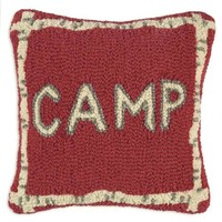 """Camp Hooked Wool Pillow - 14"""" x 14"""""""
