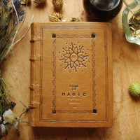 Book of Magic - A Large Grimoire bound in Brown Calf with Blind Tooling