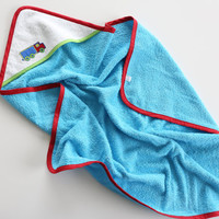 Aqua and white hooded baby bath towel with truck applique. Cotton terry cloth. Baby shower gift. Ready to ship.