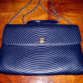 Navy Blue Leather Cross Body Purse, Vintage Leather Envelope Purse Gold Chain Strap Circular Quilted Design Front, Navy Blue Vintage Handbag