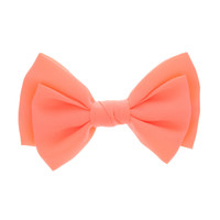 Large Neon Coral Bow Hair Clip