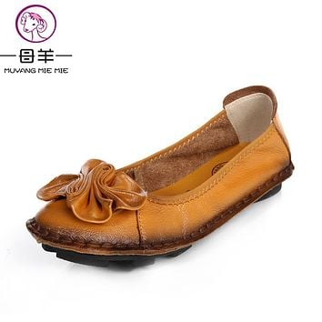 Women Shoes Woman Genuine Leather Flat Shoes Fashion Hand-sewn Leather Loafers Female Casual Shoes Women Flats