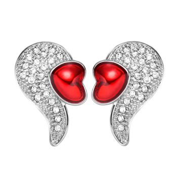 Magical Cute Angel Wings with Royal Red Hearts White Sparkling Crystals Silver-Tone Amulet Earrings