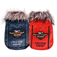 Fashion Solid Red Blue Warm Autumn/Winter Lovely Letter Puppy Jacket Style Pet Dogs Fur Coat Dog Clothes Pets Clothes