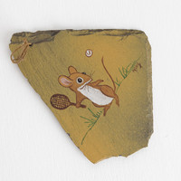 Vintage Mouse Playing Tennis Painting on Slate with Hanging Cord Signed M. King