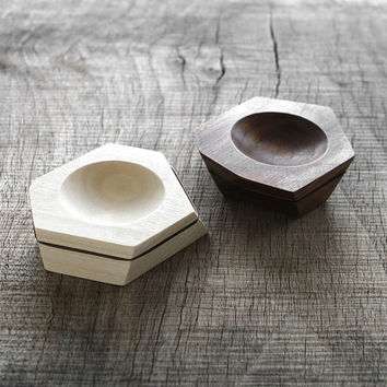 His and her ring dish made from poplar or walnut wood with aluminum striping