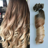 Ash Brown Ombre Hair Extensions,Blonde Clip in Hair Extensions,3 Tones Ombre Dip Dye indian remy human hair,Hippie Hair,Full Set 100grams+