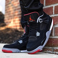 Nike Air Jordan 4 Retro OG Bred Basketball Shoes Sneakers