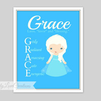Frozen Inspired Prints, Snow Princess Print, Personalized Name Meaning Print, Girls Room, Princess Nursery, Girls Playroom