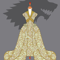 Game of Thrones print : Sansa Stark wedding dress poster, House of Stark print, Game of Thrones poster, Fashion illustration, Fashion print.
