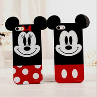 High quality Soft Silicone Cover 3D Cute Lovely Cartoon Mickey Minnie Mouse TPU Case For Iphone 4 4s 5 5s 6 4.7&5.5 inch SJK-163