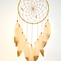 Large Ivory Gold  Dream catcher, Wall Hanging Dreamcatcher, Wedding  Gift Idea, Ivory Nursery Decor, Baby Shower Gift, Baby Nursery
