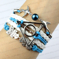 Ancient silver owl, harry potter bangle bracelets and pearl bird, wax rope and white blue leather, fashion Christmas gifts