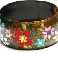Indian Bangle Hand Painted Colorful Flowers Bohemian Boho Chic Jewelry FREE SHIPPING