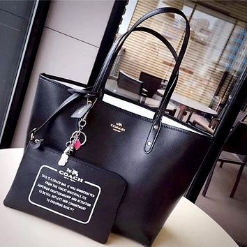 COACH Tide brand women's classic large tote bag shopping bag two-piece Black