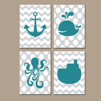Nautical Ocean Bathroom Wall Art Teal Gray Canvas Anchor Whale Tug Boat Artwork Girl Boy Sea Water Set of 4 Prints Decor
