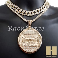 """Hip Hop Iced Out Last Supper Pendant 16"""" Iced Out Choker 18"""" Tennis Chain 14"""