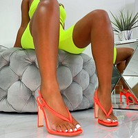 Pinched Square  toe sandals hight Heel Sandals Women Shoes Orange Shoes