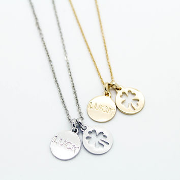 Clover luck charm necklace