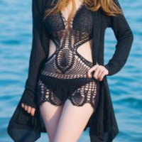 Halter Cut-Out Knitted Swimwear in Black and White
