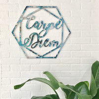 Carpe Diem Geode Agate Pattern Print Custom Wood Sign Unique Trendy Dorm Room