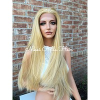 """Strawberry Honey Straight Human Hair Blend Lace Wig 24"""""""