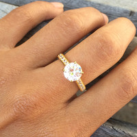 18k Yellow Gold-Plated Sterling Silver and Cubic Zirconia Ring