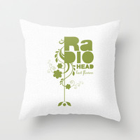 """Radiohead """"Last flowers"""" Song / Green version Throw Pillow by LilaVert"""