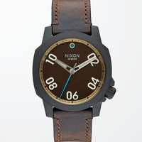 Nixon The Ranger 45 Leather Watch - Mens Watches - All Black/Brown - NOSZ