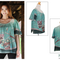 Hand Painted Women's Top - Owl Adventures | NOVICA