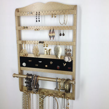 Gold Glitter Holder Deluxe, Jewelry Holder Earring Organizer, Ring Display Necklace Storage, Wall Mount, Solid Oak Hardwood, Stunning Finish