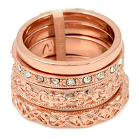 Set of 4 Rose Gold and Crystal Ring Set