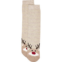 River Island Womens Beige Rudolph novelty ankle socks