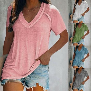 Casual Tunic Top Loose Fit Solid Blouse