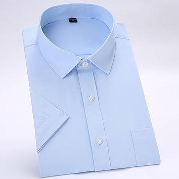 Classic Short Sleeve Solid Dress Shirts