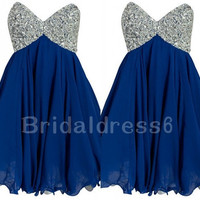 Sexy Beads Navy Blue Sweetheart Strapless Empired Short Cocktail Bridesmaid Dress,Chiffon Formal Evening Party Prom Homecoming Dress
