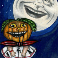original aceo art PUMPKIN jacko lantern girl moon face night Halloween costume