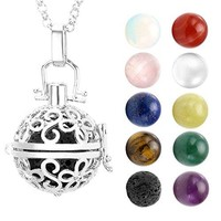 """SHIP BY USPS: JOVIVI Hollow Flower Locket Pendant With Natural 7 Chakras 16mm Ball Stones Reiki Healing Energy Beads 28"""" Necklace Set w/Box"""