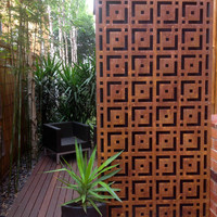 metal  rust look art oriental feature wall panel alfresco garden steel