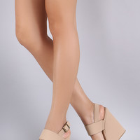 *Bamboo Two Bands Open Toe Wedge