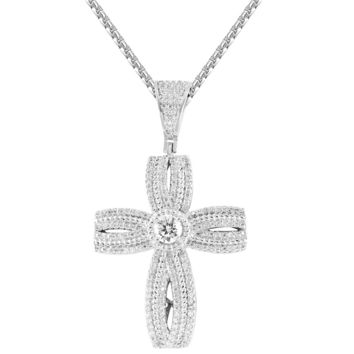 Religious Solitaire Cross Infinity Style  Pendant Free Chain
