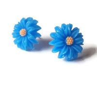 Daisy Earrings - Blue and Yellow Flowers